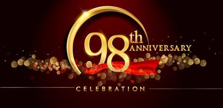 98th anniversary logo with golden ring, confetti and red ribbon isolated on elegant black background, sparkle, vector design for greeting card and invitation card Illustration