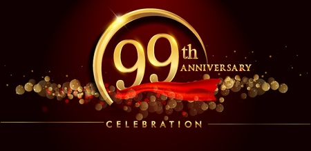 99th anniversary logo with golden ring, confetti and red ribbon isolated on elegant black background, sparkle, vector design for greeting card and invitation card