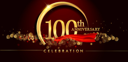 100th anniversary logo with golden ring, confetti and red ribbon isolated on elegant black background, sparkle, vector design for greeting card and invitation card