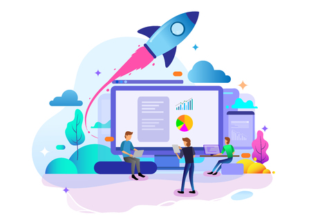 Landing page design concept of Startup Business, business strategy, analytics and brainstorming. Vector illustration concepts for website design uiux and mobile website development.