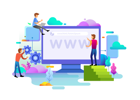 Web design homepage concept of desktop Illustration. business strategy, analytics and brainstorming. Modern flat design concepts for website design uiux and mobile website development.