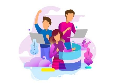Vorlage für die Zielseite des Social-Media-Konzepts. Landingpage-Design von Social Media und Entertainer. Moderne Flat-Design-Konzepte für Website-Design ui/ux und mobile Website-Entwicklung.