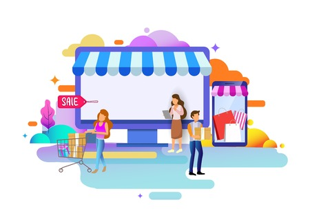 Landing page design concept of online shop and where to buy, business strategy and Shopping Online. Vector illustration concepts for website design uiux and mobile website development.