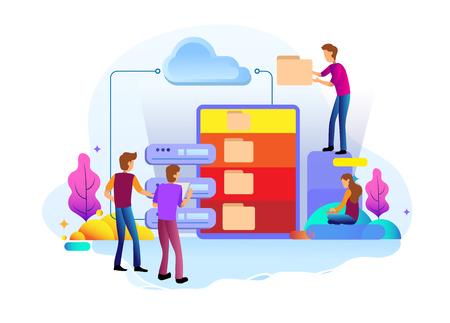 Concepto de diseño de página de destino del centro de datos y datos de respaldo, mantenimiento y almacenamiento de datos. Conceptos de ilustración vectorial para el diseño de sitios web ui / ux y desarrollo de sitios web móviles.