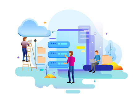 Landing page design concept of data center and backup data, maintenance and data storage. Vector illustration concepts for website design uiux and mobile website development. 일러스트