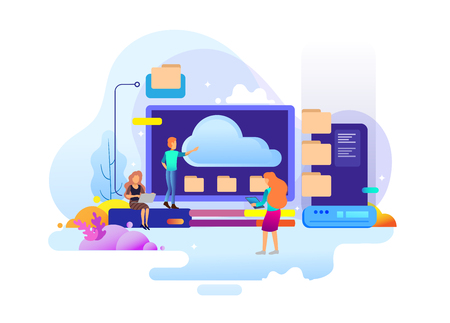 Landing page design concept of data center and backup data, maintenance and data storage. Vector illustration concepts for website design uiux and mobile website development. Illustration