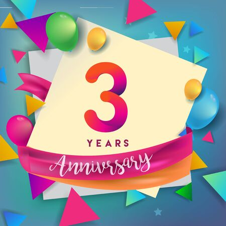 3rd years anniversary logo, vector design birthday celebration with colorful geometric, Circles and balloons isolated on white background.