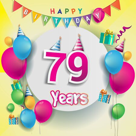 79th Anniversary Celebration, birthday card or greeting card design with gift box and balloons, Colorful vector elements for birthday celebration party.