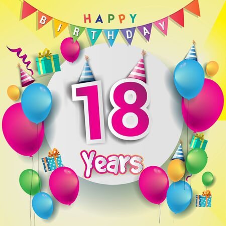 18th Anniversary Celebration, birthday card or greeting card design with gift box and balloons, Colorful vector elements for birthday celebration party.