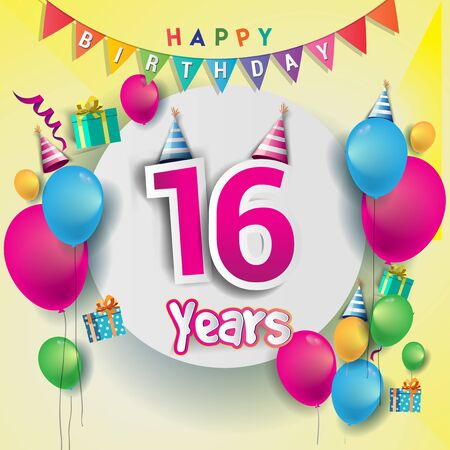 16th Anniversary Celebration, birthday card or greeting card design with gift box and balloons, Colorful vector elements for birthday celebration party.