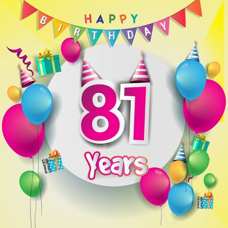 81st Anniversary Celebration, birthday card or greeting card design with gift box and balloons, Colorful vector elements for birthday celebration party.