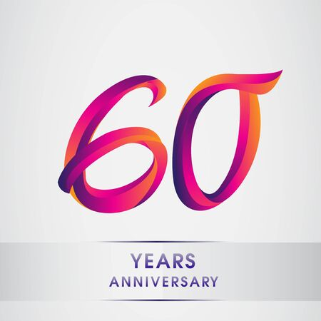 60th Years anniversary celebration logotype colorful design, Birthday logo on white background