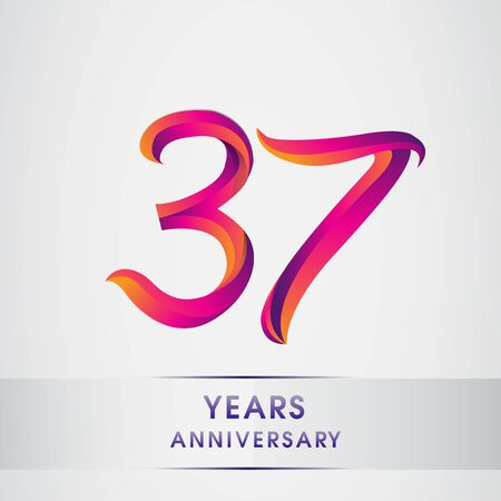 37th Years anniversary celebration logotype colorful design, Birthday logo on white background Logo