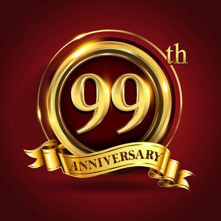 Celebrating 99th golden anniversary, Design Logo of Anniversary celebration with gold ring and golden ribbon. Logo