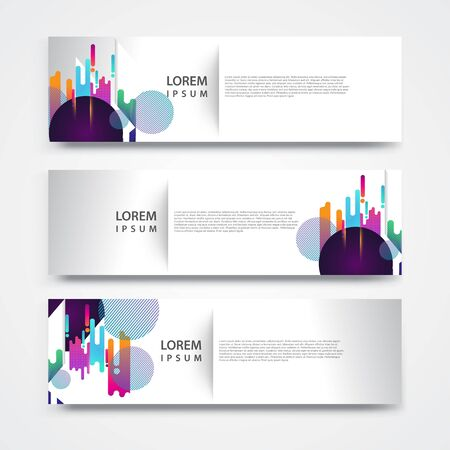 Vector set abstract geometric design banner web template.