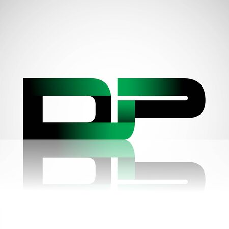 Initial letter DP uppercase modern and simple logo linked green and black colored, isolated in white background. Vector design for company identity. Ilustração