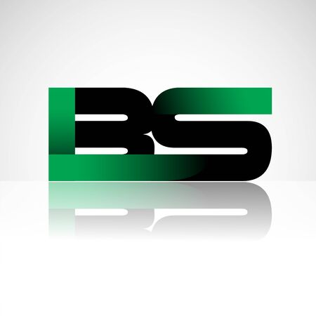 Initial letter BS uppercase modern and simple logo linked green and black colored, isolated in white background. Vector design for company identity.