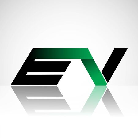 Initial letter EV uppercase modern and simple logo linked green and black colored, isolated in white background. Vector design for company identity.