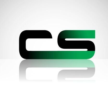 Initial letter CS uppercase modern and simple logo linked green and black colored, isolated in white background. Vector design for company identity.