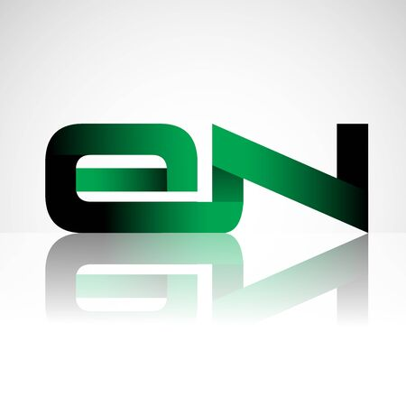 Initial letter EN uppercase modern and simple logo linked green and black colored, isolated in white background. Vector design for company identity.
