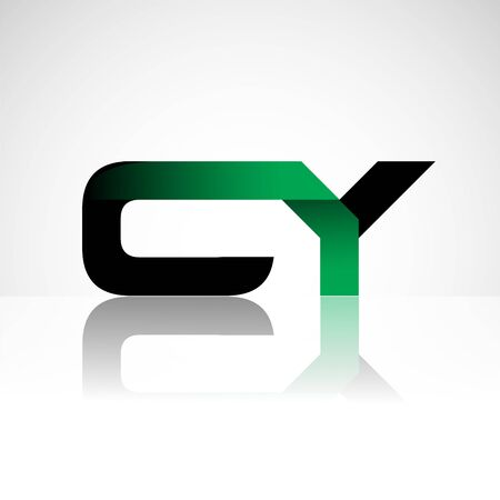 Initial letter CY uppercase modern and simple logo linked green and black colored, isolated in white background. Vector design for company identity. Logo