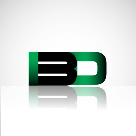 Initial letter BO uppercase modern and simple logo linked green and black colored, isolated in white background. Vector design for company identity.