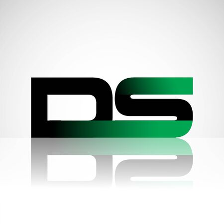 Initial letter DS uppercase modern and simple logo linked green and black colored, isolated in white background. Vector design for company identity.