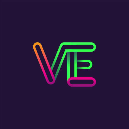 initial logo letter VE, linked outline rounded logo, colorful initial logo for business name and company identity.