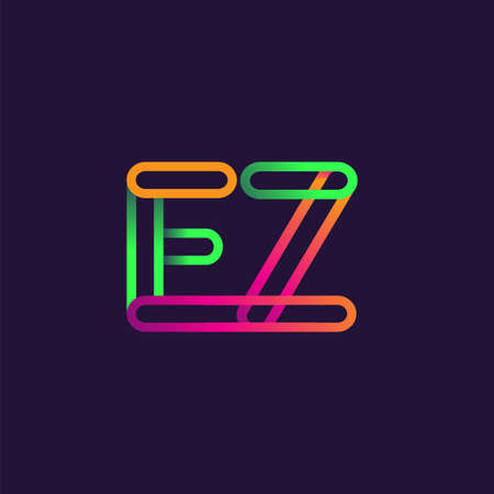 initial logo letter EZ, linked outline rounded logo, colorful initial logo for business name and company identity.
