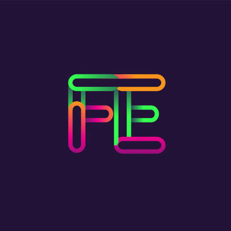 initial logo letter FE, linked outline rounded logo, colorful initial logo for business name and company identity.
