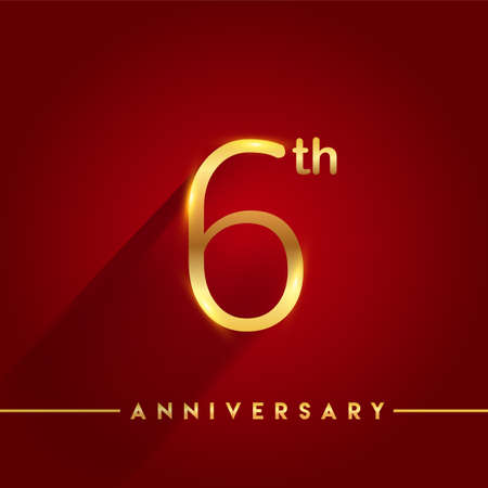 Celebrating of 6th years anniversary, logotype golden colored isolated on red background, vector design for greeting card and invitation card