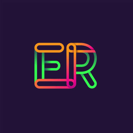 initial logo letter ER, linked outline rounded logo, colorful initial logo for business name and company identity. Ilustracja