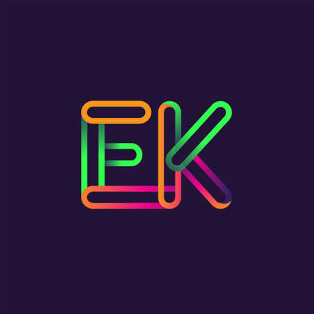 initial logo letter EK, linked outline rounded logo, colorful initial logo for business name and company identity.