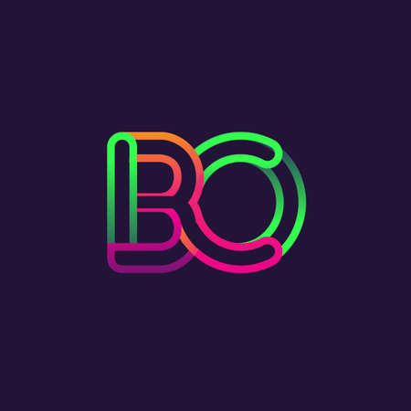 initial logo letter BO, linked outline rounded logo, colorful initial logo for business name and company identity. Çizim