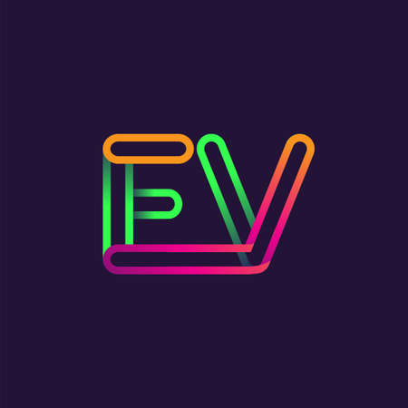 initial logo letter EV, linked outline rounded logo, colorful initial logo for business name and company identity.