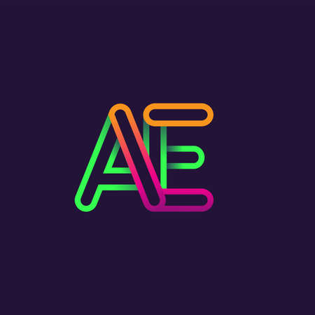 initial logo letter AE, linked outline rounded logo, colorful initial logo for business name and company identity.