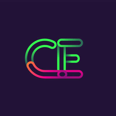 initial logo letter CE, linked outline rounded logo, colorful initial logo for business name and company identity. Ilustracja