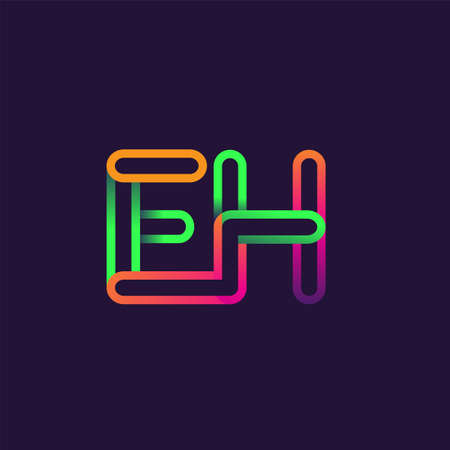 initial logo letter EH, linked outline rounded logo, colorful initial logo for business name and company identity.