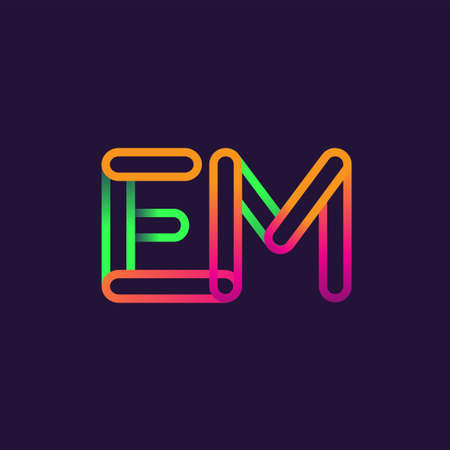 initial logo letter EM, linked outline rounded logo, colorful initial logo for business name and company identity.