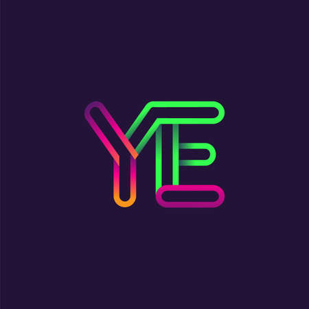 initial logo letter YE, linked outline rounded logo, colorful initial logo for business name and company identity.