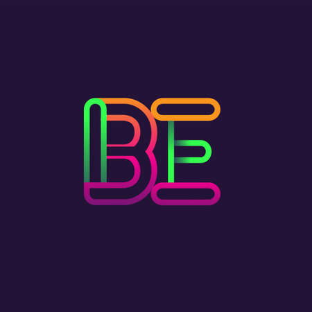 initial logo letter BE, linked outline rounded logo, colorful initial logo for business name and company identity.