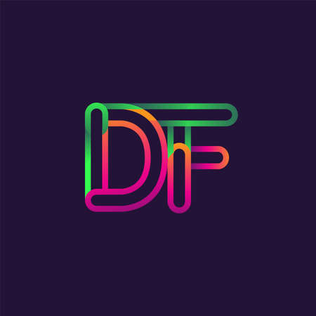 initial logo letter DF, linked outline rounded logo, colorful initial logo for business name and company identity. Logo