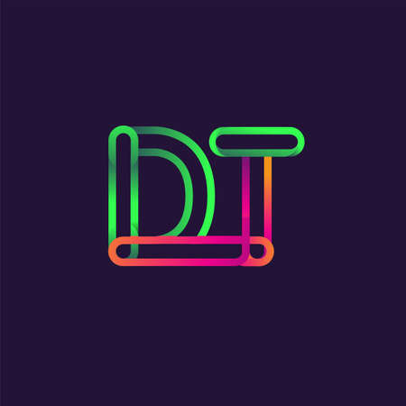 initial logo letter DT, linked outline rounded logo, colorful initial logo for business name and company identity.