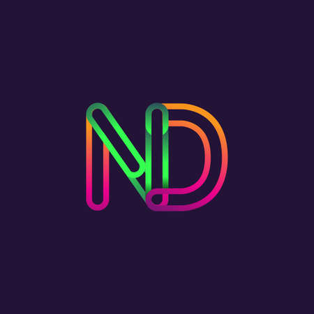 initial logo letter ND, linked outline rounded logo, colorful initial logo for business name and company identity.