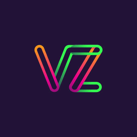 initial logo letter VZ, linked outline rounded logo, colorful initial logo for business name and company identity. Logó