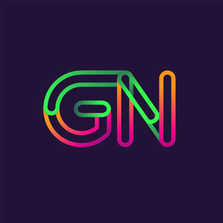 initial logo letter GN, linked outline rounded logo, colorful initial logo for business name and company identity. Logó