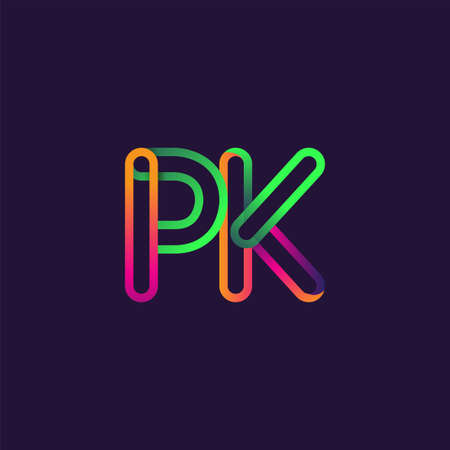initial logo letter PK, linked outline rounded logo, colorful initial logo for business name and company identity.