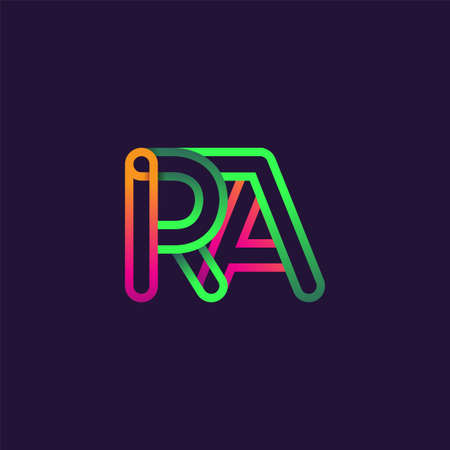 initial logo letter RA, linked outline rounded logo, colorful initial logo for business name and company identity.