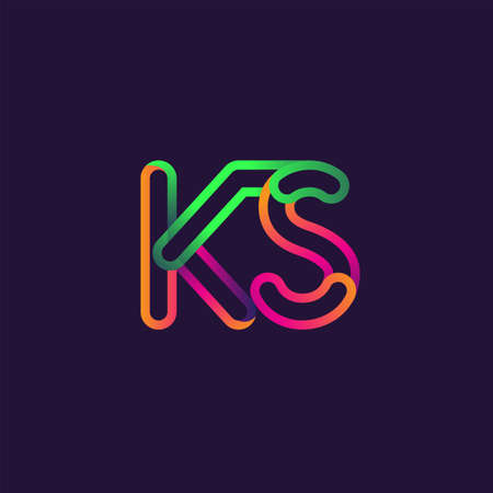 initial logo letter KS, linked outline rounded logo, colorful initial logo for business name and company identity. Logó