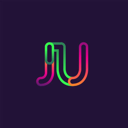 initial logo letter JU, linked outline rounded logo, colorful initial logo for business name and company identity. 向量圖像